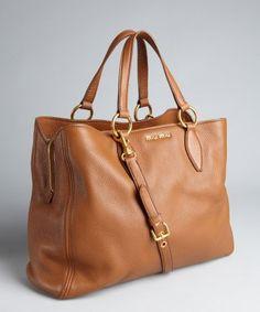 Miu Miu : cognac pebbled leather convertible tote
