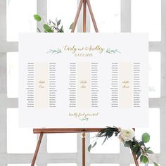 """Banquet Table Seating Plan 3 Long Tables, Printable Banquet Table Plan """"Greenery"""" 24x36"""" and A1 sizes included Edit in ACROBAT"""