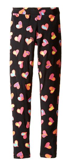 Moschino Kids All Over Heart Print Leggings (Big Kids) (Black) Girl's Casual Pants - Moschino Kids, All Over Heart Print Leggings (Big Kids), HJP00E LBB01 82096, Apparel Bottom Casual Pants, Casual Pants, Bottom, Apparel, Clothes Clothing, Gift, - Street Fashion And Style Ideas