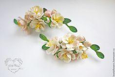 Купить Цветы персика в прическу - цветы ручной работы, цветы из полимерной глины, свадебные цветы