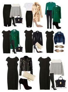 """Как покупать меньше одежды и при этом не мучиться каждый день вопросом """"что надеть""""? Удачным решением может стать формирование многофункционального гардероба, который будет состоять на 60 процентов из базовых вещей, на 35 процентов - из капсул и на пять процентов из трендовых вещей. Советы по составлению многофункционального гардероба с фото примерами смотрите в этой статье. Black Dress Outfits, Casual Fall Outfits, Classy Outfits, Cool Outfits, Capsule Wardrobe Work, Capsule Outfits, Fashion Capsule, Work Fashion, Fashion Outfits"""