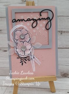 Collage style card made using Stampin Up Amazing You stamp set pink