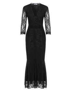 New Women Sexy V-Neck Three Quarter Sleeve Empire Waist Plus Size Lace Evening Dresses