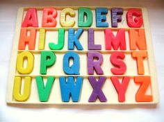 Vintage Fisher Price Alphabet Magnets with Tray by toysofthepast