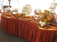 Buffet Table Decorating Ideas Pictures set dishes at different levels Christmas Buffet Table Decorations Pictures Thanksgiving Buffet Table Shown Poppy Rust Linen