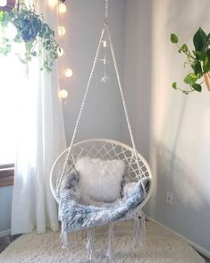 Cute room decor - Outdoor Home, Patio, Deck, Yard, Garden Garden & Outdoor Cute Room Ideas, Cute Room Decor, Teen Room Decor, Teen Bedroom Chairs, Chill Out Room Ideas, Bedroom Swing Chair, Wall Decor, Hammock In Bedroom, Preteen Bedroom