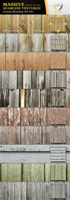 10 Seamless Wooden Fence Textures #GraphicRiver All 10 textures in this file have been designed at the massive resolution of 1500×1500px so that you can scale them all the way from close up detail of the content out to a fine repeating pattern.