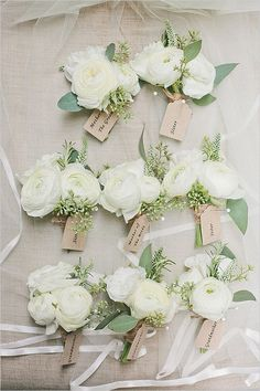 Perfect And Pretty Neutral Wedding Pinned corsages of white ranunculus with hints of green nagi and leather leaf wrapped in a band of champagne ribbon with the stems showing White Wedding Flowers, White Flowers, Floral Wedding, Wedding Colors, Green Wedding, Trendy Wedding, Corsage Wedding, Wedding Bouquets, Wedding Dresses