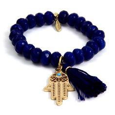 Ettika :: Bracelets :: Elastic :: Dark Blue Elastic Bracelet with Tassel and Gold Hamsa Charm