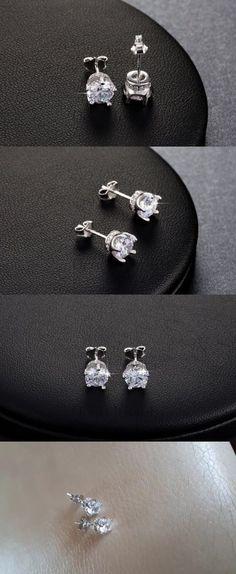 Diamond 10986: 14K White Gold Earrings, Diamond Stud Earrings White Gold Fancy Diamond Earrings -> BUY IT NOW ONLY: $34.99 on eBay!