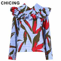 CHICING High Street Women Ruffles Print Blouse Series 2017 Autumn Turn-down Collar Ladies Long Sleeve Basic Shirt Tops A1707045