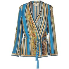 Etro Blouse ($1,040) ❤ liked on Polyvore featuring tops, blouses, azure, etro top, striped long sleeve top, stripe blouse, striped blouse and etro