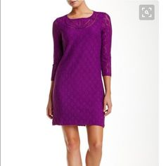NWT Purple Lace Dress - Size 8 Brand-new with tags and never worn purple three-quarter length sleeve stretch lace dress. Beautiful jeweled neck cut with concealed back zipper for closure. Dress is fully lined and is 33 inches in length. Made of 96% nylon and 4% spandex. Gorgeous dress! Laundry by Shelli Segal Dresses Midi