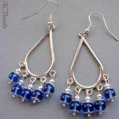 Chandelier earrings with blue beads