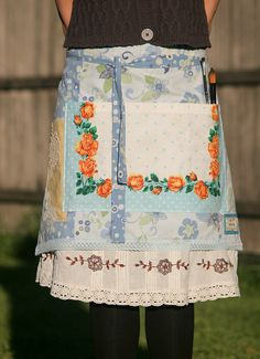 Retro half apron with doilies by nomadictara on Etsy