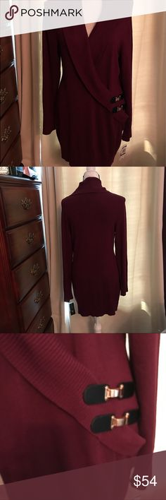 "Beautiful INC-NEW LISTING I N C - International concepts dress, burgundy with beautiful ribbed lapel.              32 1/2"" long                                             84% Rayon, 15% Nylon.            Faux leather trim at waist.         Fits size 10-14.                         👗Price is FIRM👗🌹🌺. INC International Concepts Dresses"