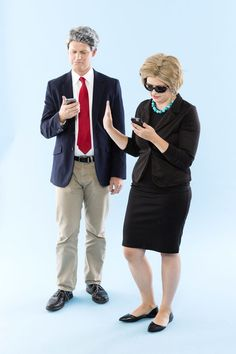 Save this DIY Halloween couples costume tutorial to learn how to dress up as Hillary + Bill Clinton.