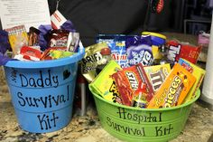 Daddy Survival Kit & Hospital Survival Kit - gifts for daddy at the shower.