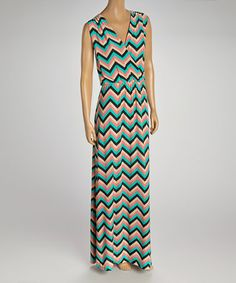 Coral & Jade Stripe Surplice Maxi Dress #zulily #zulilyfinds
