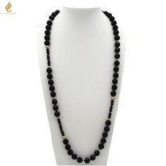 """HUAMAO 38"""" Matte Onyx Smooth Onyx Gold Hammered Balls Necklace"""