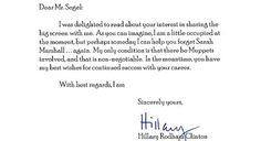 Secretary Clinton rejects Jason Segal!    So great.