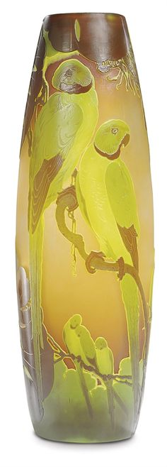 EMILE GALLE (1846-1904) -  An Overlaid and Etched Glass 'Parrot' Vase, circa 1900