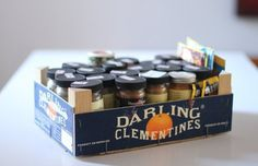 Spice Organization Rental - 10 Ways to Reuse a Clementine Box Around the Kitchen Wooden Crates, Wooden Boxes, Spice Organization, Spice Storage, Organizing Tips, Kitchen Storage, Neat And Tidy, Reuse Recycle, Getting Organized