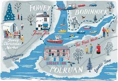 Fowey Estuary map for Coast Magazine, Anna Simmons