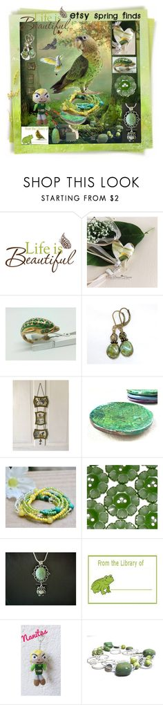 """Life is Beautiful With Etsy Spring Finds"" by sylvia-cameojewels on Polyvore featuring Green & Spring, Wall Pops!, Nintendo and Freebird"