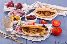Learn how to make and prepare the recipe for Greek-style gyros with olives and hot peppers. Greek Dinners, Greek Gyros, Gyro Recipe, Greek Olives, Seafood Dishes, Stuffed Hot Peppers, Greek Recipes, Food Plating, Side Dishes