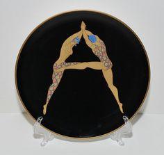 Art Deco Style Erte Ebony Alphabet A Bone China Plate by Abundancy, $75.00
