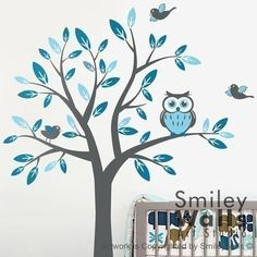 Kids Nursery Vinyl Wall Decal Art - Tree with Owl and Birds- Children baby wall decal sticker