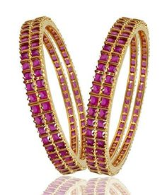 #3: M Creation Gold Ruby Coloured Stone Gold-Plated Bangle Set For Women B114(PACK OF 4) (2.4) This belongs to hot selling products in Jewelry  category in India. Click below to see its Availability and Price in YOUR country.