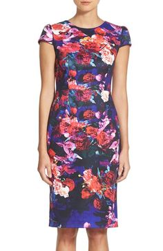 Betsey Johnson Print Stretch Midi Dress available at #Nordstrom It's decided. Ruby has to dress in bold florals. Ferrr surreeee.