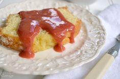 3 Ingredient Rhubarb Strawberry Sauce on lemon pound cake