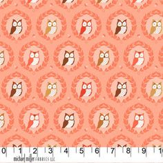 Sweet Owlies Peach from Les Amis Patty by LemonTreeFabrics on Etsy, $9.50