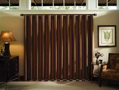 Hunter Douglas Luminette® Modern Draperies -consistent contoured columns of fabric elegantly span window and door openings using Traditional™ or Ribbon™ Panel design options. Glass Door Curtains, Sliding Door Curtains, Curtains With Blinds, Sliding Glass Door, Valances, Glass Doors, Window Curtains, Hunter Douglas, Eclectic Window Treatments