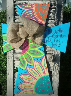 This is the Day Floral Cross Painted Wooden Signs, Rustic Wood Signs, Painted Doors, Wooden Letters, Cross Door Hangers, Wooden Door Hangers, Wood Projects That Sell, Craft Projects, Vinyl Projects