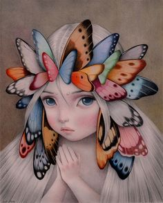 """""""A crown of Butterflies"""" Colored pencils and acrylics on paper. Available through the Inverarity Gallery. By Raul Guerra. Butterfly Art, Butterflies, Color Pencil Art, Art And Illustration, Butterfly Illustration, Art Drawings Sketches, Pics Art, Surreal Art, Aesthetic Art"""