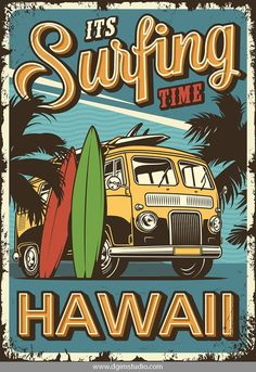 Vintage Colorful Surfing Poster With Surf Van Palm Trees And. Royalty Free Cliparts, Vectors, And Stock Illustration. Image # retro Vintage colorful surfing poster with surf van palm trees and. Surf Vintage, Vintage Surfing, Vintage Logo, Vintage Branding, Retro Vintage, Vintage Pop Art, Vintage Mermaid, Vintage Colors, Vintage Stuff