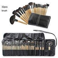 32pcs Professional Synthetic Fiber Wooden Handle Black Brushes Kit with PU Leather Bag