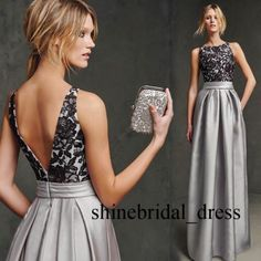 Black-Lace-Formal-Evening-Gown-Scoop-Silver-Satin-Prom-Party-Dresses-with-Pocket