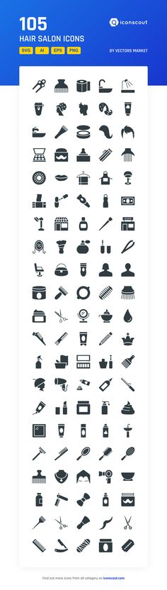Hair Salon  Icon Pack - 105 Solid Icons
