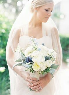blue and cream bridal bouquet by www.BranchesDesigns.com