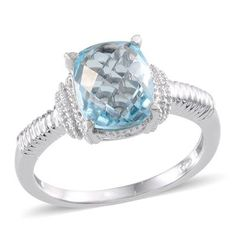 Sky Blue Topaz (3.75 Ct) Platinum Overlay Sterling Silver Ring 3.750 Ct.