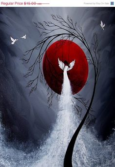 SALE Beautiful Fantasy Angel Print Beneath by BestArtStudios2, $11.25