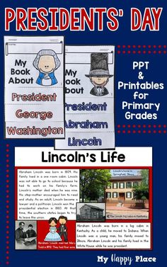 PowerPoint slideshow, printable books, writing materials about Washington and Lincoln. Great activities for kindergarten and first grade. Kindergarten Social Studies, Kindergarten Activities, Preschool, Lincoln Life, First Grade, Second Grade, Thematic Units, Presidents Day, Math Resources