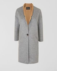 Jaeger Collection Double Faced Mid Length Coat in grey with camel rever and lining.