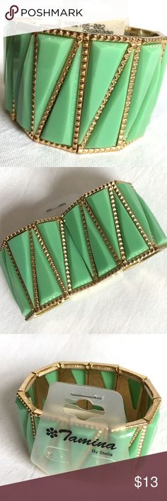 Bold Jade Green Statement Cuff Bracelet **3/$30 DEAL!  Bundle ANY 3 jewelry items in my boutique, and I will make you an offer of $30!  Bundle more for an even greater discount!**  New with Statement Bracelet!  - Colors: jade green; gold tones   - Stretch for one size fits most  Item # - POSH70 Tamina by Stella Jewelry Bracelets