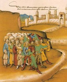 """""""First Arrival of Gypsies Outside the City of Berne"""", Amtliche Spiezer Chronicle, 1485"""